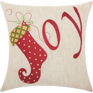 Mina Victory Home for the Holiday Joy Natural Throw Pillow (16-inch x 16-inch) by Nourison