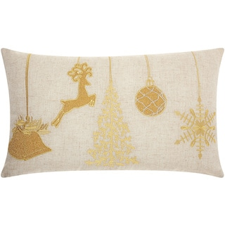 Mina Victory Home for the Holiday Ornaments Gold Throw Pillow (14-inch x 24-inch) by Nourison