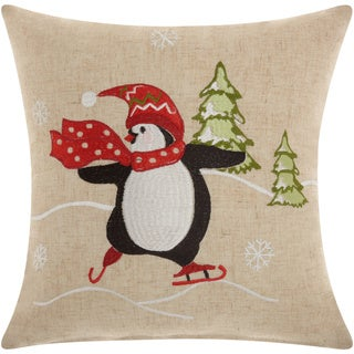 Mina Victory Home for the Holiday Penguin Natural Throw Pillow (16-inch x 16-inch) by Nourison