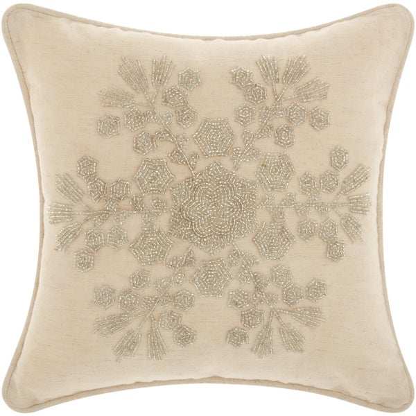 Throw Pillows 12 X 12 : Mina Victory Home for the Holiday Seedbead Snowflake Silver Throw Pillow (12-inch x 12-inch) by ...