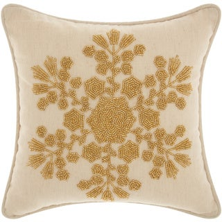 Mina Victory Home for the Holiday Seedbead Snowflake Gold Throw Pillow (12-inch x 12-inch) by Nourison