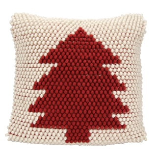 Mina Victory Home for the Holiday Christmas Tree Loops Ivory/Red Throw Pillow by Nourison (20-Inch X 20-Inch)