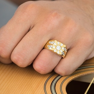 TwoBirch 10k Gold Men's Wedding Ring with Forever Brilliant Moissanite by (2.52, Cts)