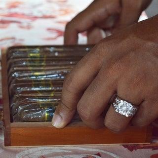 TwoBirch 10k Gold Men's 2 1/2ct TGW Moissanite Wedding Ring