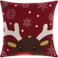 Mina Victory Home for the Holiday Rudolph Red Throw Pillow (18-inch x 18-inch) by Nourison
