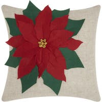 Mina Victory Home for the Holiday Poinsettia Natural Throw Pillow (18-inch x 18-inch) by Nourison