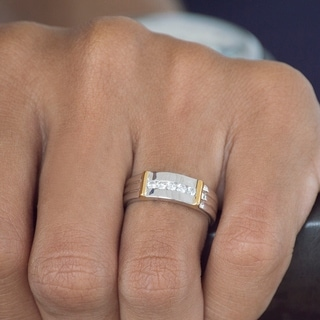 Charles Colvard Sterling Silver Men's 1/2ct TGW Moissanite Wedding Ring
