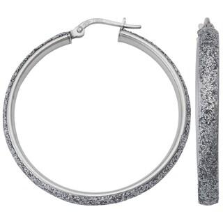 Argento Italia Rhodium Plated Sterling Silver 4x30-mm Glitter Hoop Earrings