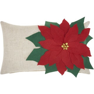 Mina Victory Home for the Holiday Poinsettia Natural Throw Pillow (14-inch x 20-inch) by Nourison