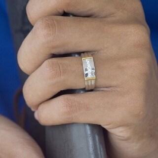 TwoBirch Sterling Silver Men's 1/2ct TGW Moissanite Wedding Ring