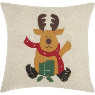 Mina Victory Home for the Holiday Reindeer Natural Throw Pillow (16-inch x 16-inch) by Nourison