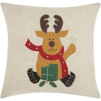 Mina Victory Home for the Holiday Reindeer Natural Throw Pillowby Nourison (16-Inch X 16-Inch)
