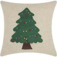 Mina Victory Home for the Holiday Christmas Tree Natural Throw Pillow (16-inch x 16-inch) by Nourison