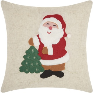 Mina Victory Home for the Holiday Santa Natural Throw Pillow (16-inch x 16-inch) by Nourison