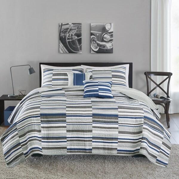 Intelligent Design Wyatt Blue 5-piece Coverlet Set