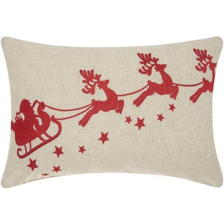 Mina Victory Home for the Holiday Embroidered Santa Sleigh Red Throw Pillow (14-inch x 20-inch) by Nourison