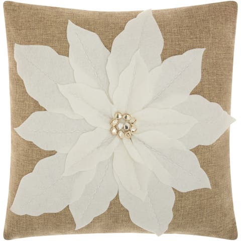 Mina Victory Home for the Holiday Poinsettia White Throw Pillow (17-inch x 17-inch) by Nourison