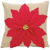 Mina Victory Home for the Holiday Poinsettia Red Throw Pillow (17-inch x 17-inch) by Nourison