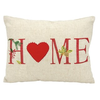 Mina Victory Home for the Holiday Home Natural Throw Pillow (12-inch x 16-inch) by Nourison