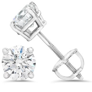 14k White Gold 1ct TDW Diamond IGI Certified Screwback Studs (H-I/SI1-I1)