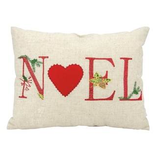 Mina Victory Home for the Holiday Noel Natural Throw Pillow (12-inch x 16-inch) by Nourison
