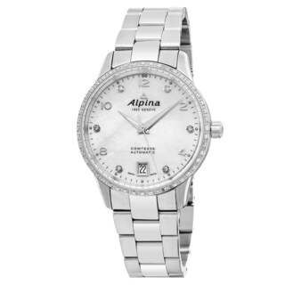 Alpina Women's AL-525APW3CD6B 'Comtesse' Mother of Pearl Dial Stainless Steel Diamond Swiss Automatic Watch