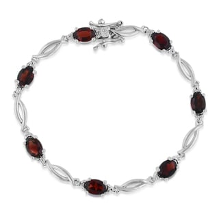 9 Carat Garnet and Diamond Bracelet, Platinum Overlay, 7 Inches