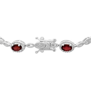 5 Oval Shape Carat Garnet and Diamond Bracelet, Platinum Overlay, 7 Inches