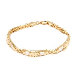Gold-plated Brass 7.5-inch Triple Elephant Bracelet