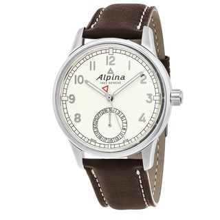 Alpina Men's AL-710KM4E6 'Alpiner' Ivory Dial Brown Leather Strap Swiss Automatic Watch