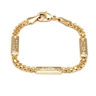 Peermont Jewelry 18k Goldplated Engraved ID Bracelet