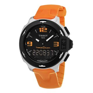 Tissot Men's 'T-Race Touch' Black Dial Orange Rubber Strap Multifunction Swiss Quartz Watch