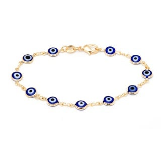 Gold-plated Brass Blue Crystal Evil-eye Bracelet