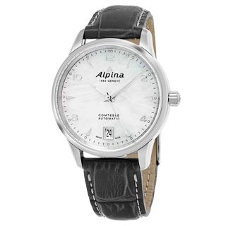 Alpina Women's AL-525APW3C6 'Comtesse' Mother of Pearl Dial Grey Leather Strap Swiss Automatic Watch