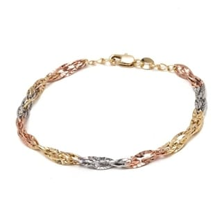 Gold-plated 3-tone Diamond-cut Wire Link Chain Bracelet