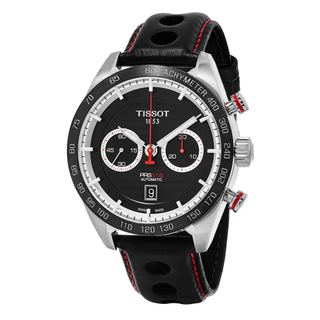 Tissot Men's T100.427.16.051.00 'PRS 516' Black Dial Black Leather Strap Chronograph Swiss Automatic Watch