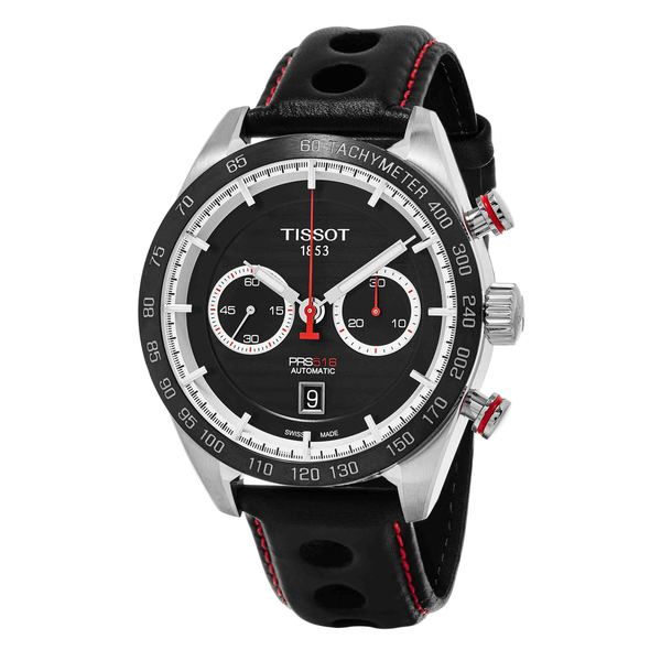 Shop Tissot Men's 'PRS 516' Black Dial Black Leather Strap ...