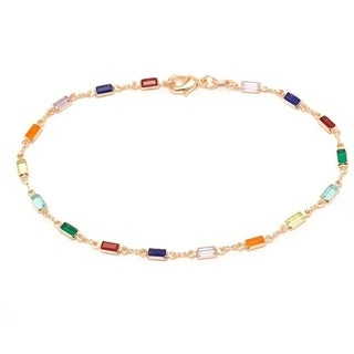 Goldplated Dark Multicolored Crystals Block-shaped Bracelet