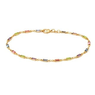 18k Goldplated Brass Multicolored Crystal Accents Anklet Bracelet