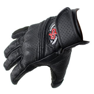 Perrini Pro Motorcycle Biker Racing Motorbike Cross Line Perforated Leather Gloves (All Sizes)