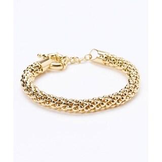 Peermont Jewelry 18k Gold-plated Popcorn Mesh Bracelet