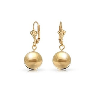 Peermont Jewelry Women's Yellow Gold Plated 12-millimeter Plain Ball Drop Earrings