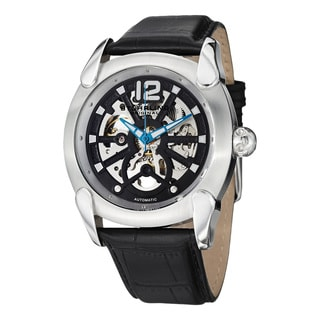 Stuhrling Orignal Men's Automatic Axial Skeleton Black Leather Strap Watch