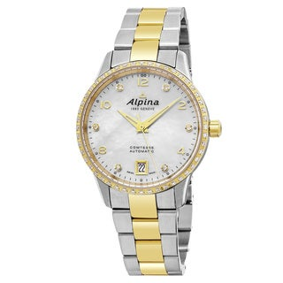 Alpina Women's AL-525APWD3CD3B 'Comtesse' Mother of Pearl Dial Stainless Steel Two Tone Diamond Swiss Automatic Watch