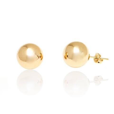 Goldplated 12-millimeter Plain Ball Stud Earrings