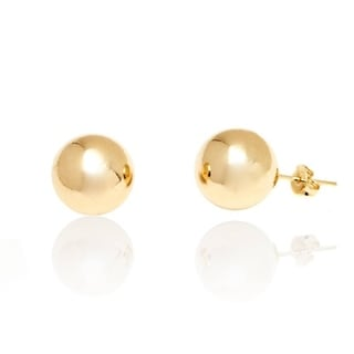 Peermont Jewelry Goldplated 12-millimeter Plain Ball Stud Earrings