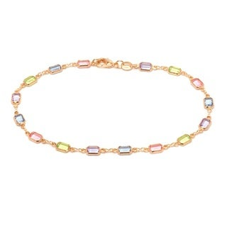 18k Goldplated Light Multicolored Crystal Block Ankle Bracelet