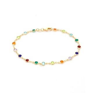 Women's Gold-plated Multicolored Crystal Bracelet