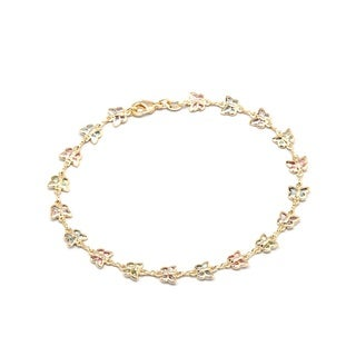 Goldplated Dark Multicolored Crystal Round Bracelet