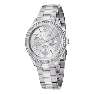 Stuhrling Orignal Women's Quartz Lady Majestic Swarovski Crystal Stainless Steel LInk Bracelet Watch
